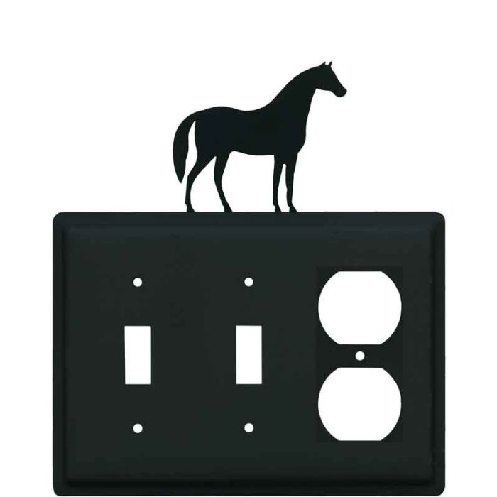 Horse Double 2 Toggle / Outlet Combination Wall Plates
