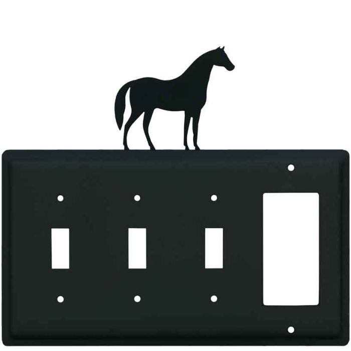 Horse Triple 3 Toggle / 1 Rocker GFCI Switch Covers