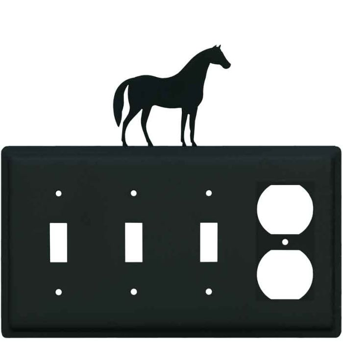 Horse Combination Triple 3 Toggle / Outlet Wall Plate Covers