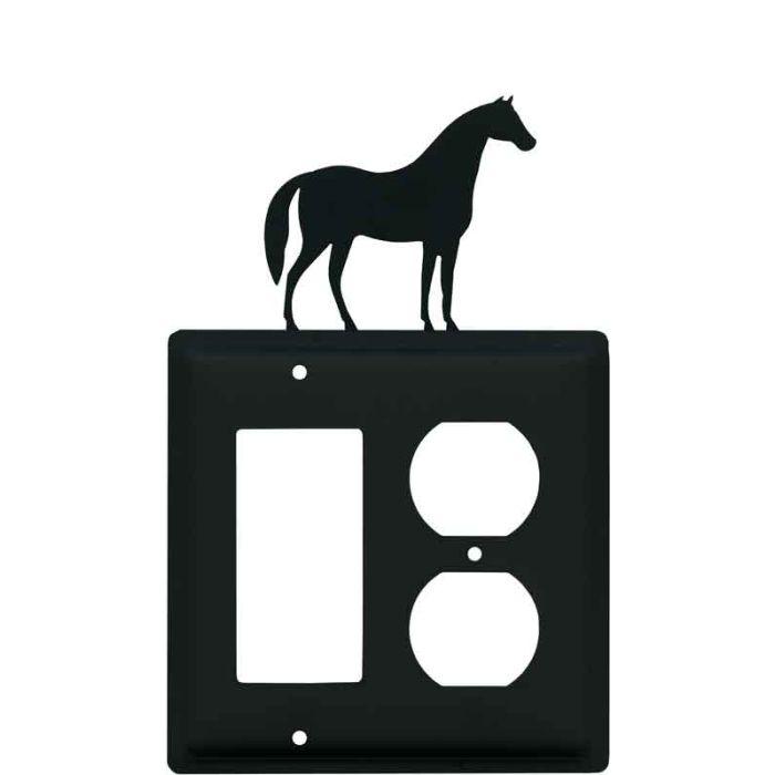Horse Combination GFCI Rocker / Duplex Outlet Wall Plates