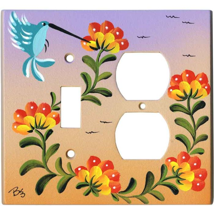 Hummingbird and Flowers 1 Toggle Wall Switch Plate - Outlet Cover Combination