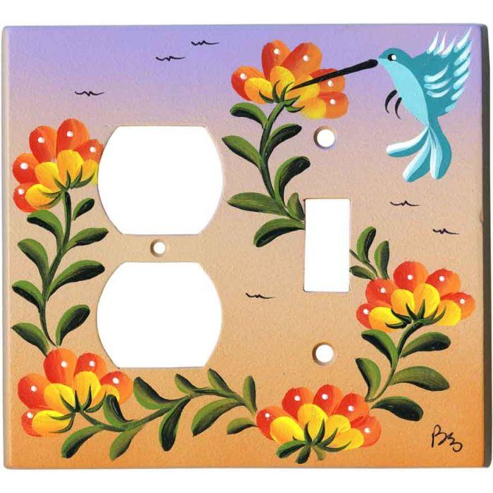 Hummingbird and Flowers 1-Duplex / 1-Toggle - Combination Wall Plates