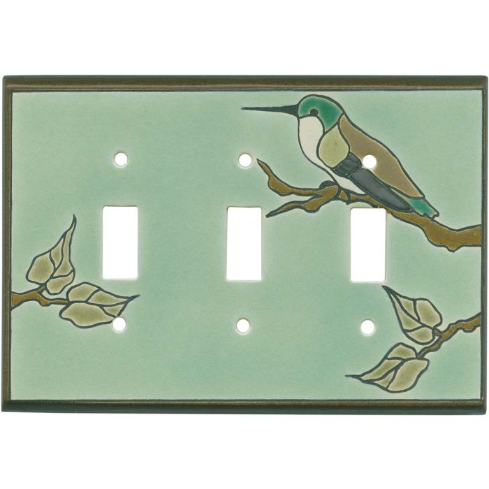 Hummingbird on Branch Triple 3 Toggle Light Switch Covers