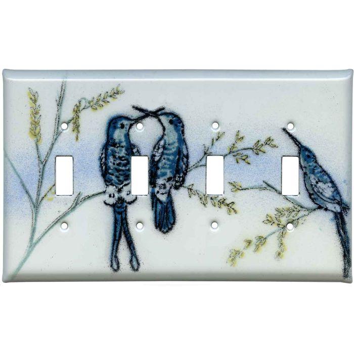 Hummingbirds Quad 4 Toggle Light Switch Covers