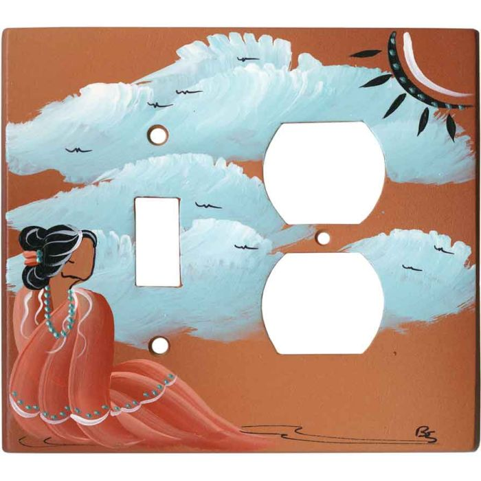 Indian Maiden on Terra Cotta 1 Toggle Wall Switch Plate - Outlet Cover Combination