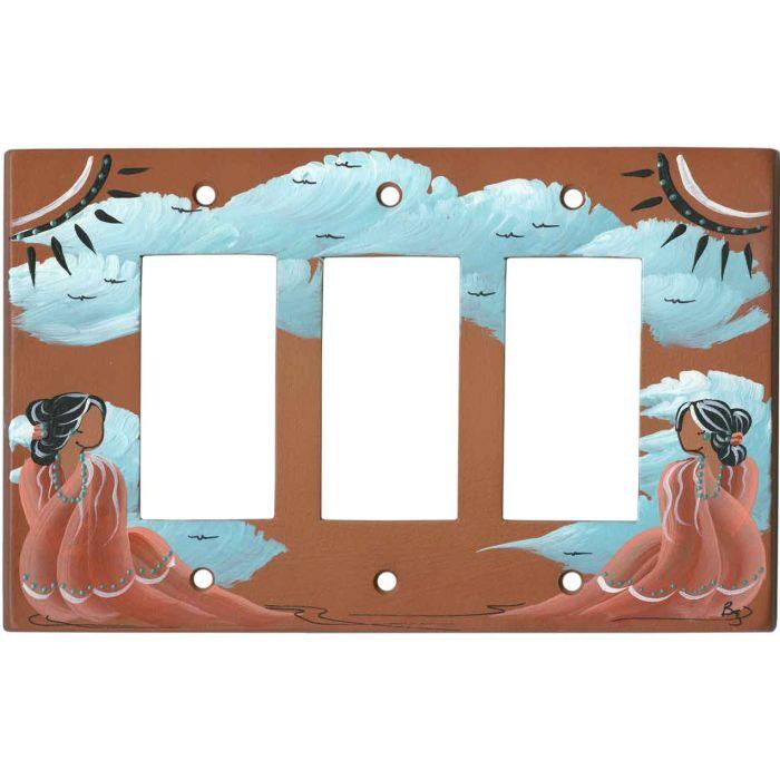 Indian Maiden on Terra Cotta 3 - Rocker / GFCI Decora Switch Plate Cover