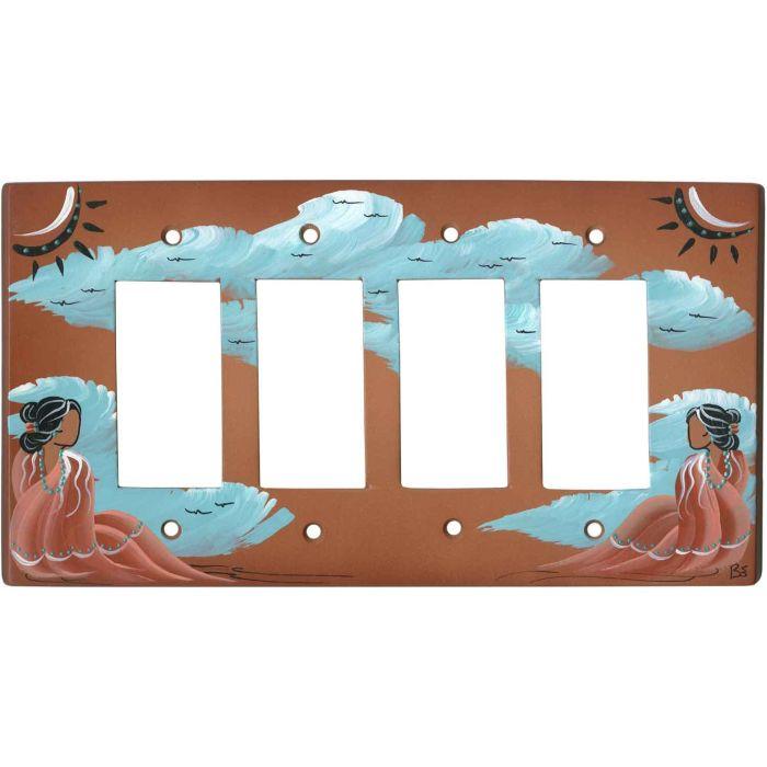 Indian Maiden on Terra Cotta 4 Rocker GFCI Decorator Switch Plates