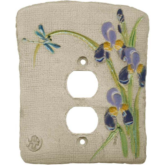 Iris Purple1 - Gang Duplex Outlet Cover Wall Plate