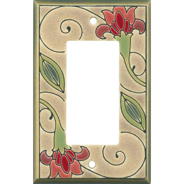 Jacobean Flower Ceramic Single 1 Gang GFCI Rocker Decora Switch Plate Cover
