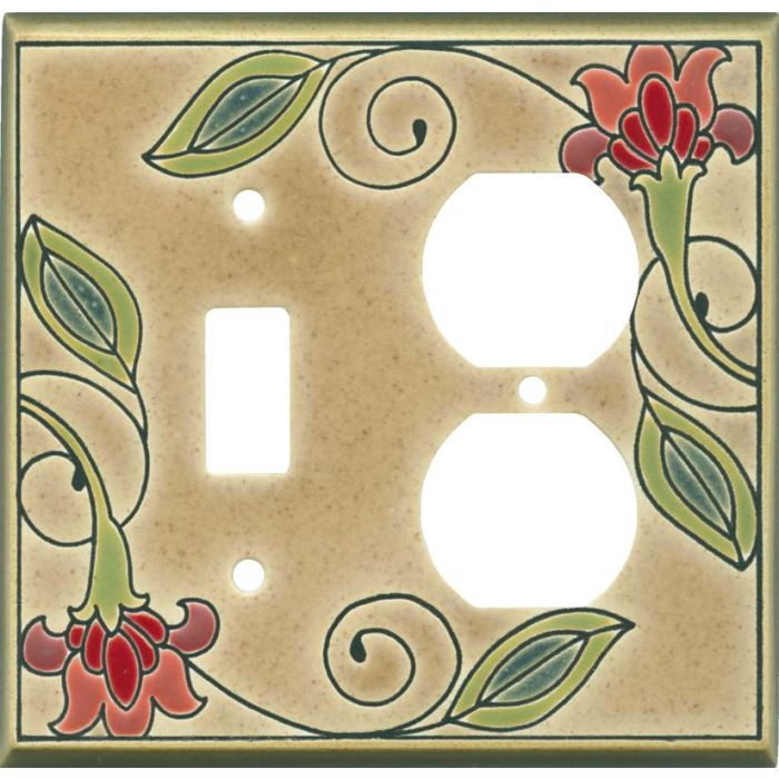Jacobean Flower Ceramic1 Toggle Wall Switch Plate - Outlet Cover Combination