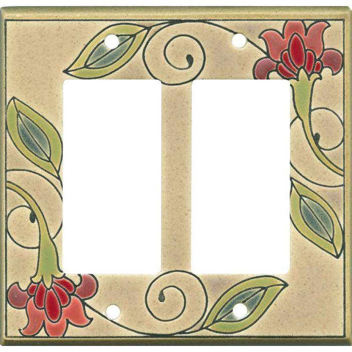 Jacobean Flower Ceramic 2 Gang Double GFCI Rocker Decorator Wallplates