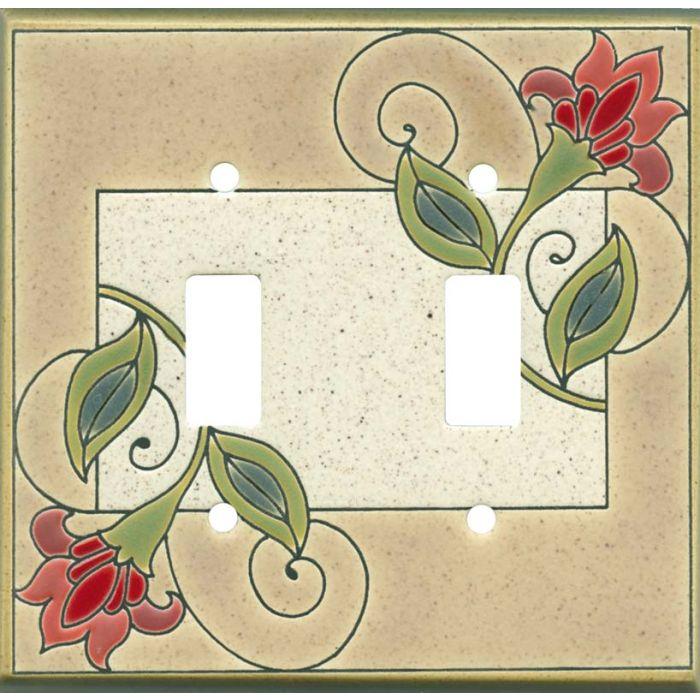 Jacobean Flower Ceramic2 Toggle Switch Plates