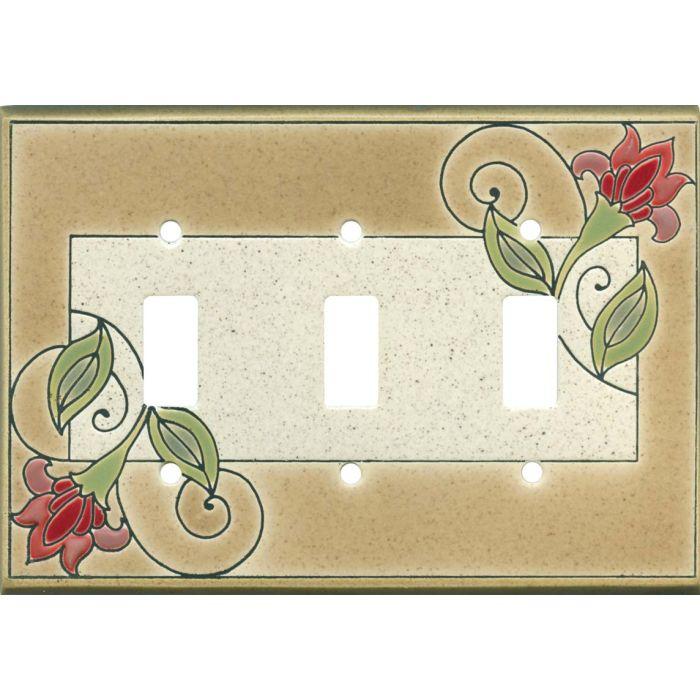 Jacobean Flower Ceramic3 - Toggle Switch Plates