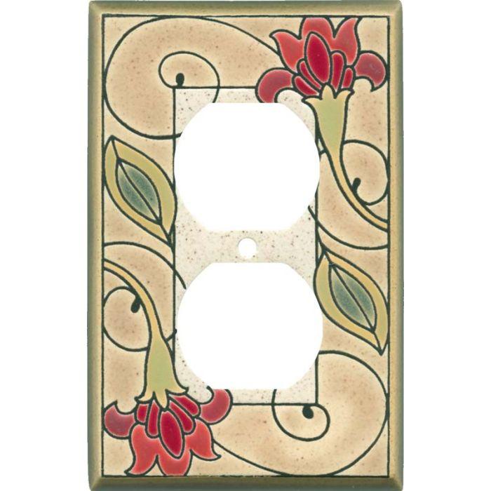 Jacobean Flower Ceramic 1 Gang Duplex Outlet Cover Wall Plate