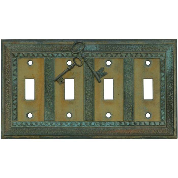 Keys Quad 4 Toggle Light Switch Covers