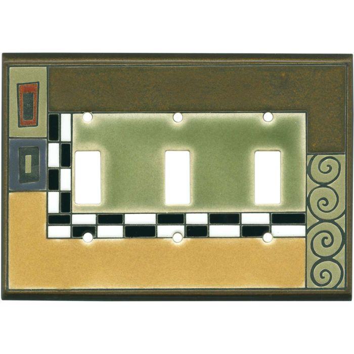 Klimt Ceramic Triple 3 Toggle Light Switch Covers