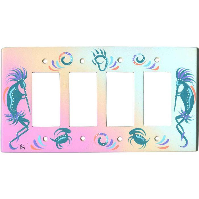 Kokopelli on Pastel 4 Rocker GFCI Decorator Switch Plates