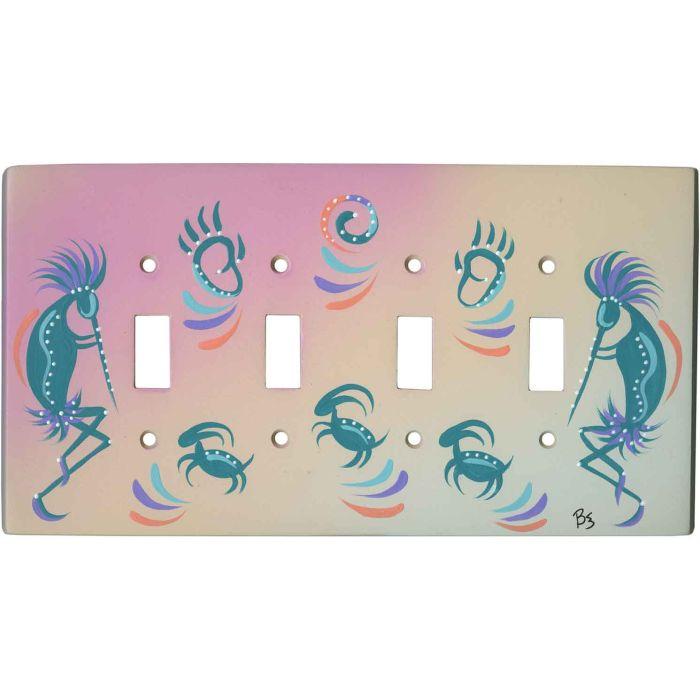 Kokopelli on Pastel 4 - Toggle Light Switch Covers & Wall Plates