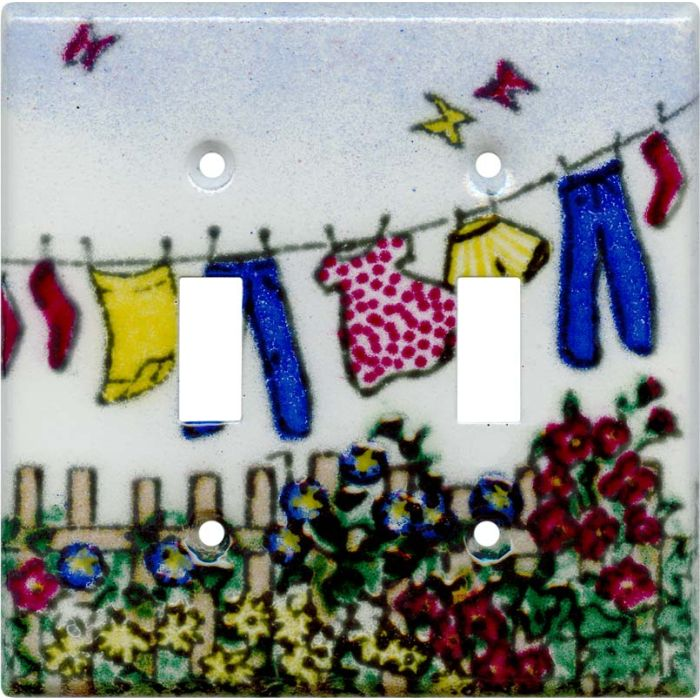 Laundry Double 2 Toggle Switch Plate Covers