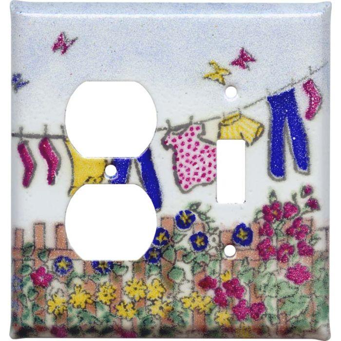 Laundry 1-Duplex / 1-Toggle - Combination Wall Plates