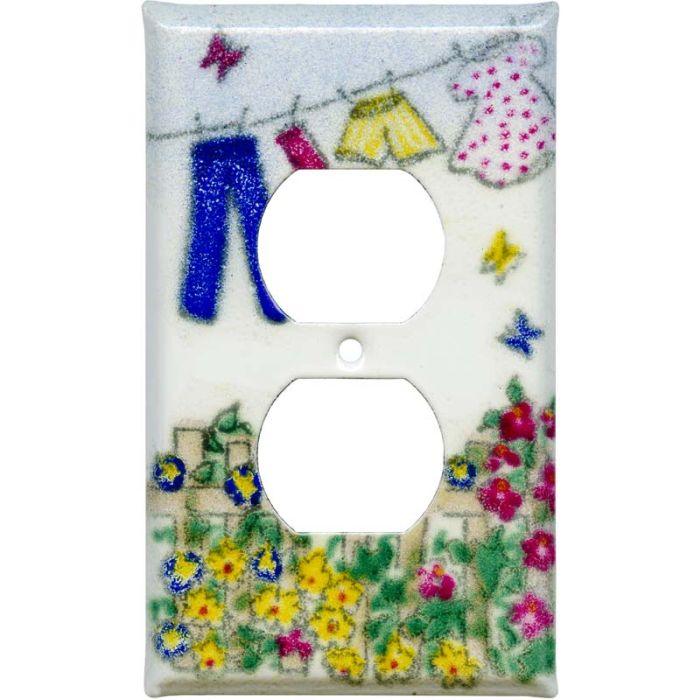 Laundry 1 Gang Duplex Outlet Cover Wall Plate