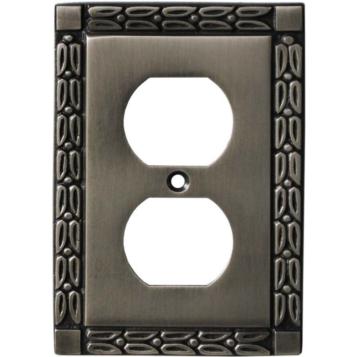 Leaf Antique Pewter 1 Gang Duplex Outlet Cover Wall Plate