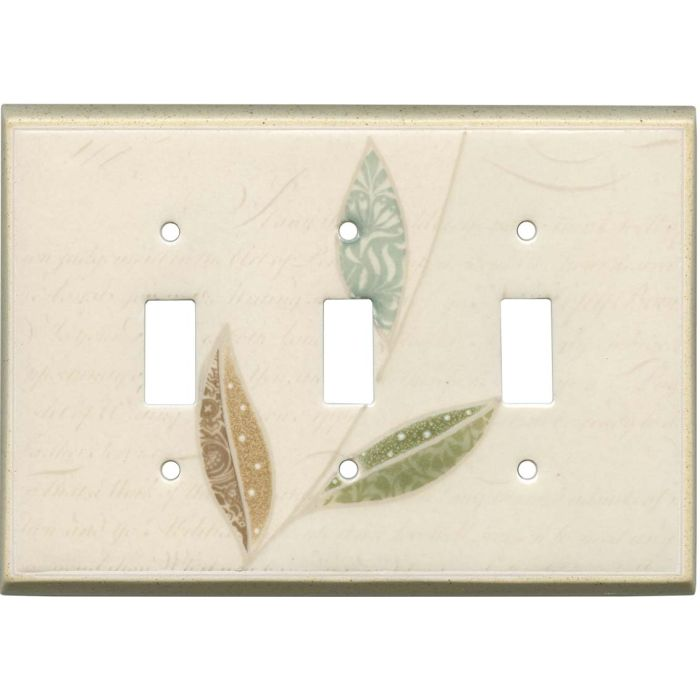 Leaf Collage Ceramic Triple 3 Toggle Light Switch Covers
