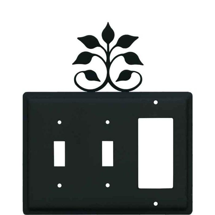Leaf Fan Double 2 Toggle / 1 GFCI Rocker Combo Switchplates