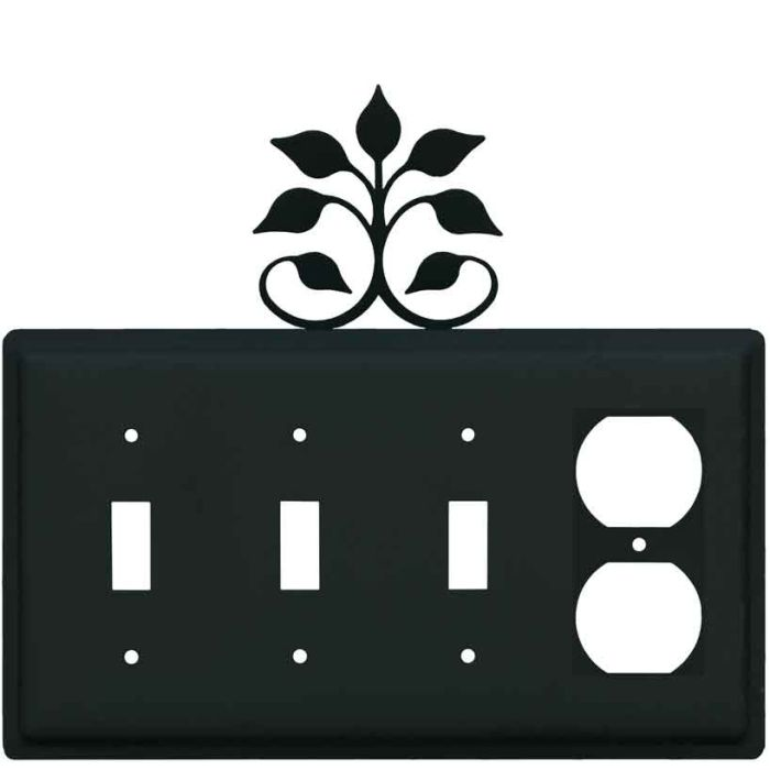 Leaf Fan Combination Triple 3 Toggle / Outlet Wall Plate Covers
