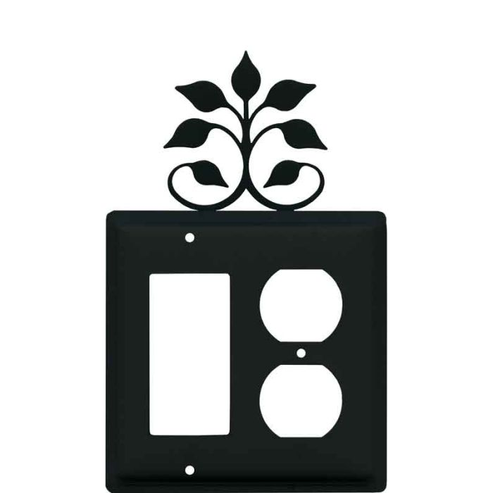 Leaf Fan Combination GFCI Rocker / Duplex Outlet Wall Plates