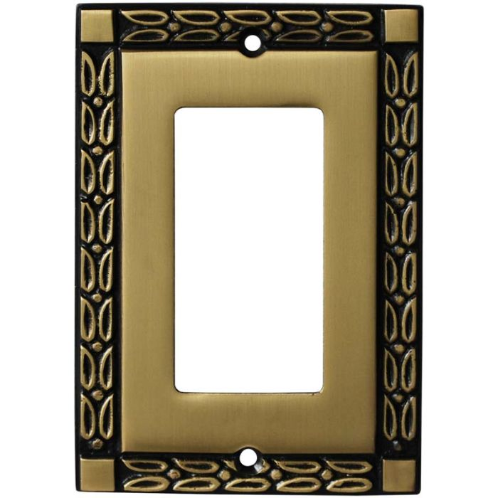 Leaf Hand Aged Antique Brass Single 1 Gang GFCI Rocker Decora Switch Plate Cover