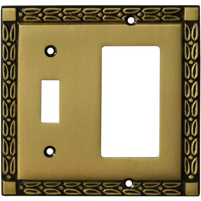 Leaf Hand Aged Antique Brass - Combination 1 Toggle/Rocker Switch Covers