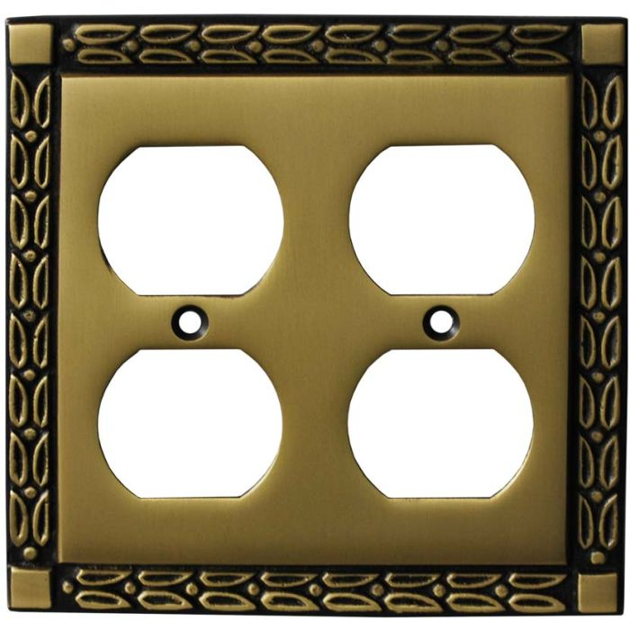 Leaf Hand Aged Antique Brass 2 Gang Duplex Outlet Wall Plate Cover