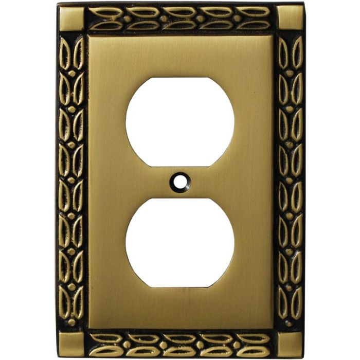 Leaf Hand Aged Antique Brass 1 Gang Duplex Outlet Cover Wall Plate