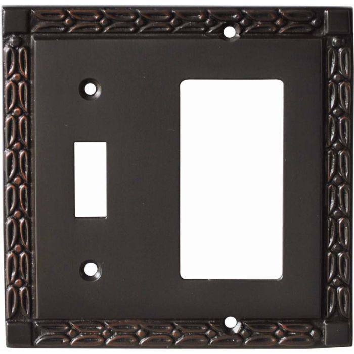Leaf Oil Rubbed Bronze Combination 1 Toggle / Rocker GFCI Switch Covers