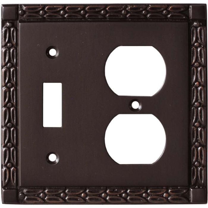 Leaf Oil Rubbed Bronze - Combination 1 Toggle/Outlet Cover Plates