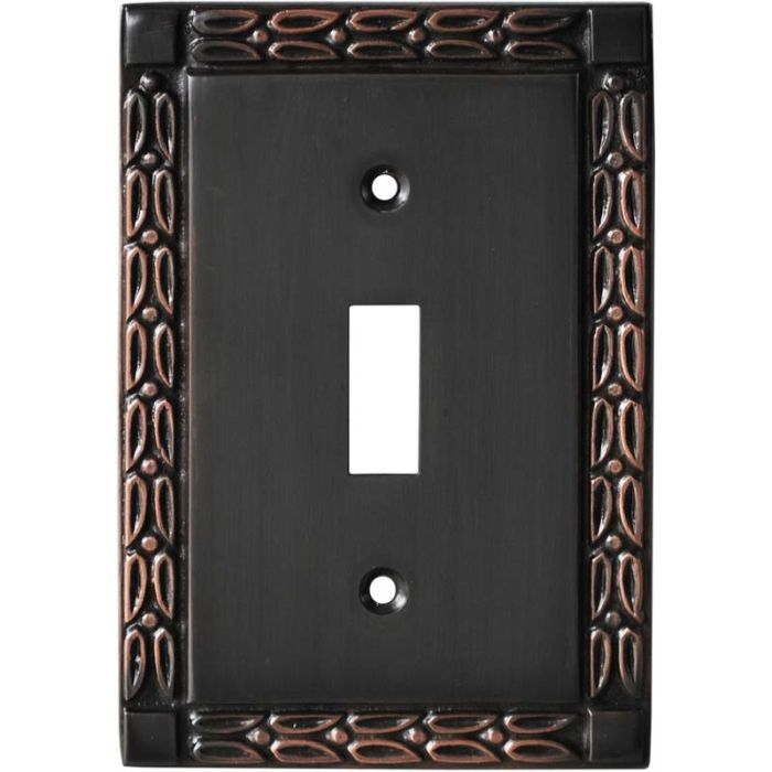Leaf Oil Rubbed Bronze - 1 Toggle Light Switch Plates
