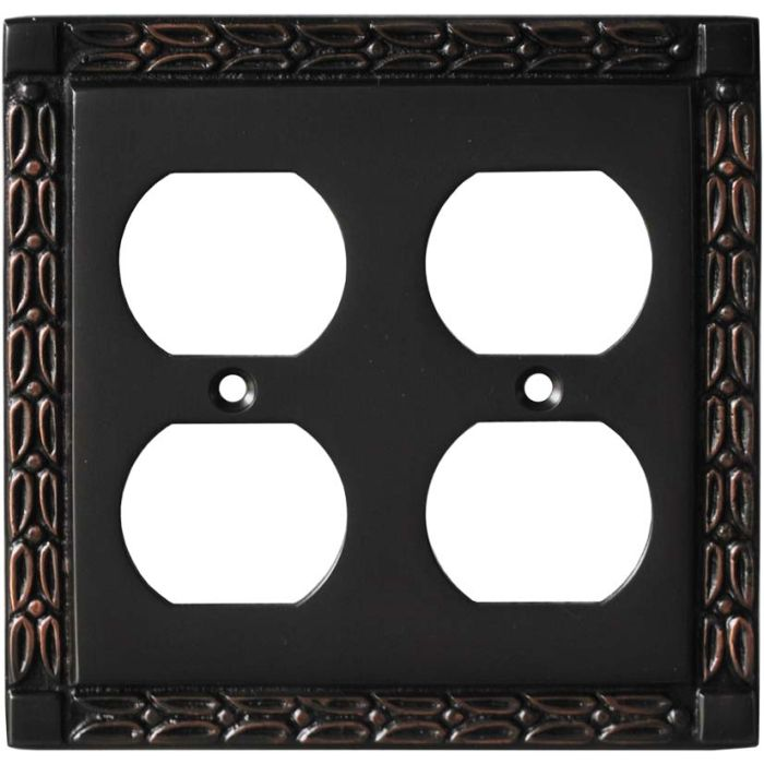Leaf Oil Rubbed Bronze 2 Gang Duplex Outlet Wall Plate Cover