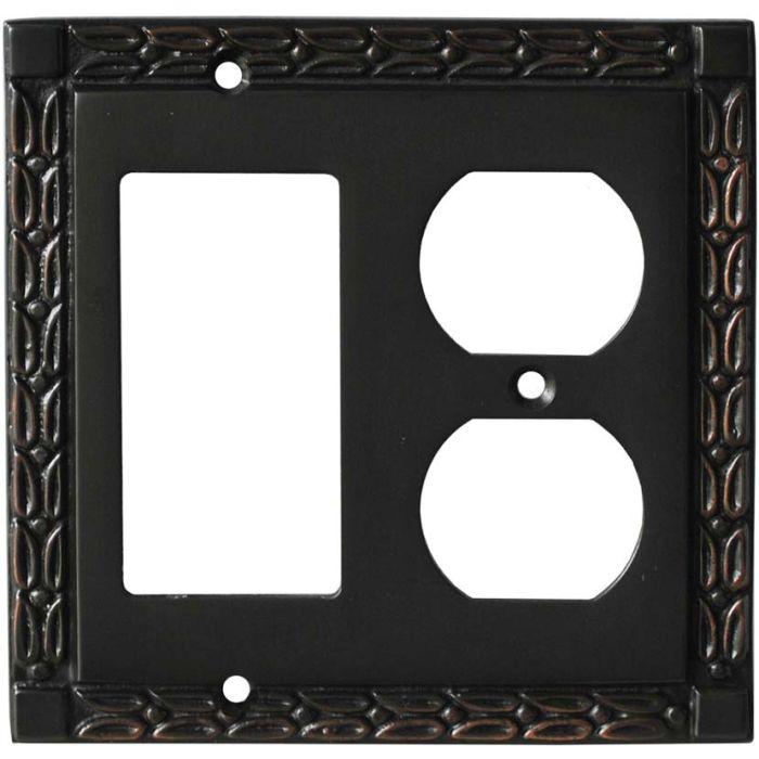Leaf Oil Rubbed Bronze Combination GFCI Rocker / Duplex Outlet Wall Plates