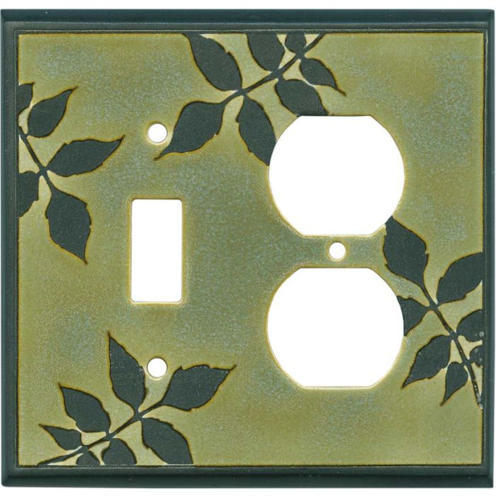 Leaf Silhouette Green Ceramic Combination 1 Toggle / Outlet Cover Plates