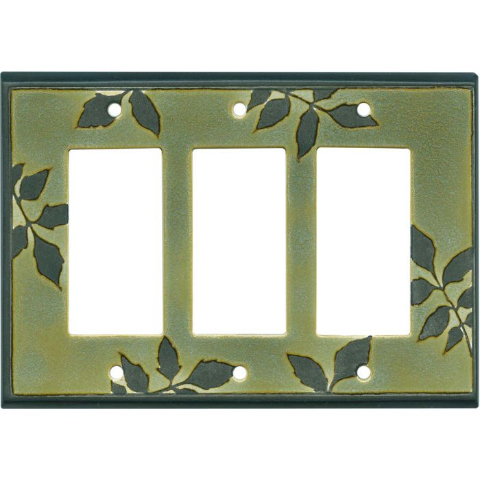 Leaf Silhouette Green Ceramic 3 - Rocker / GFCI Decora Switch Plate Cover