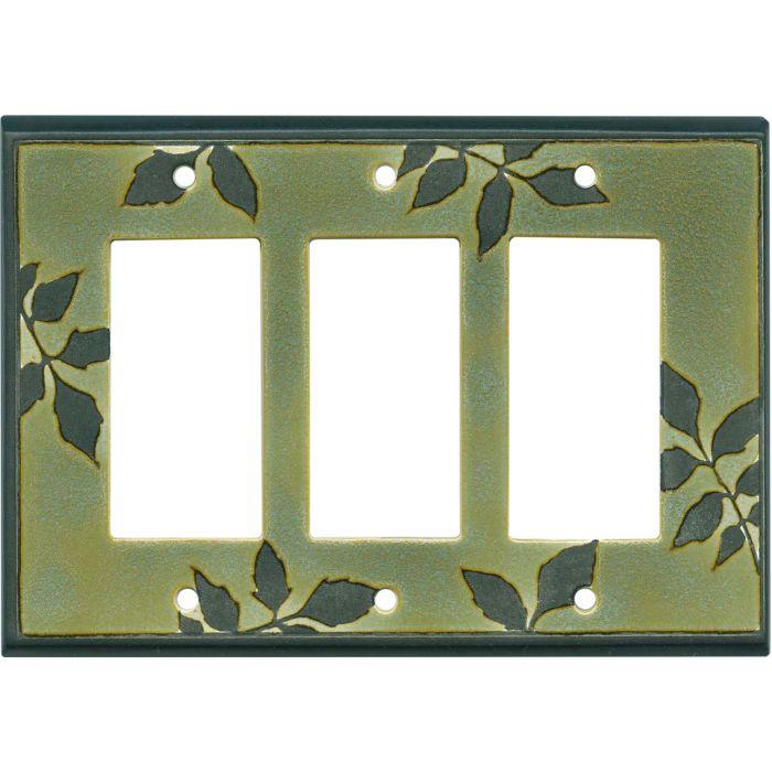 Leaf Silhouette Green Ceramic Triple 3 Rocker GFCI Decora Light Switch Covers