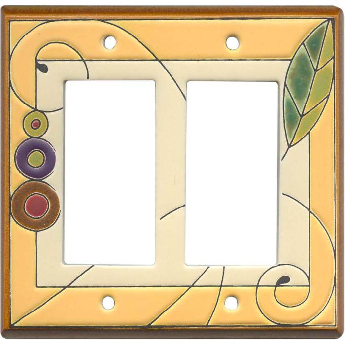 Leaf Spiral Ceramic 2 Gang Double GFCI Rocker Decorator Wallplates