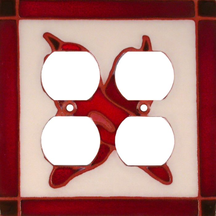 Leaning Chilis 2 Gang Duplex Outlet Wall Plate Cover