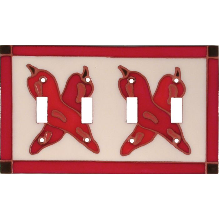 Leaning Chilis Quad 4 Toggle Light Switch Covers