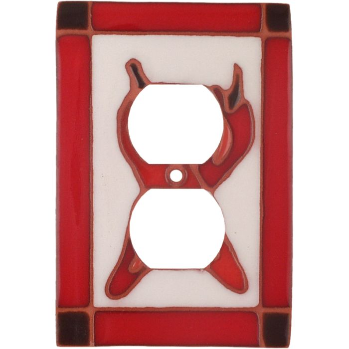 Leaning Chilis 1 Gang Duplex Outlet Cover Wall Plate