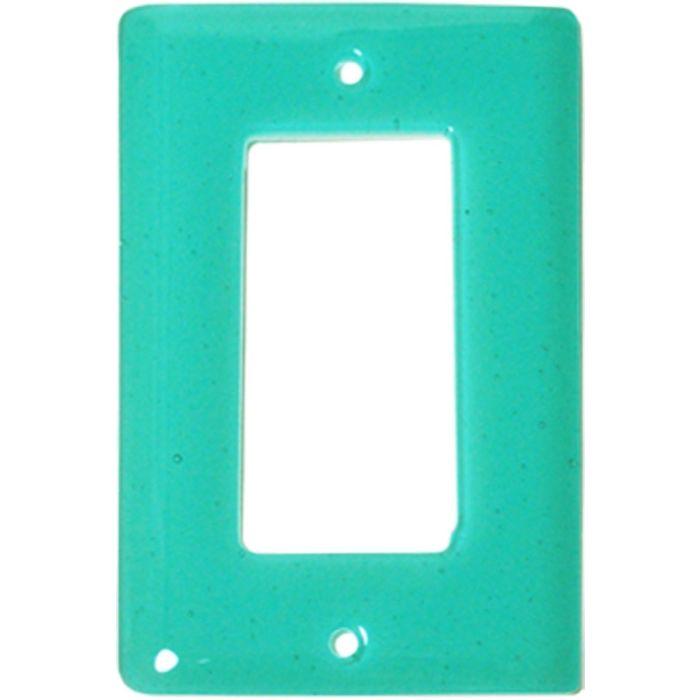 Light Aqua Blue Glass Single 1 Gang GFCI Rocker Decora Switch Plate Cover