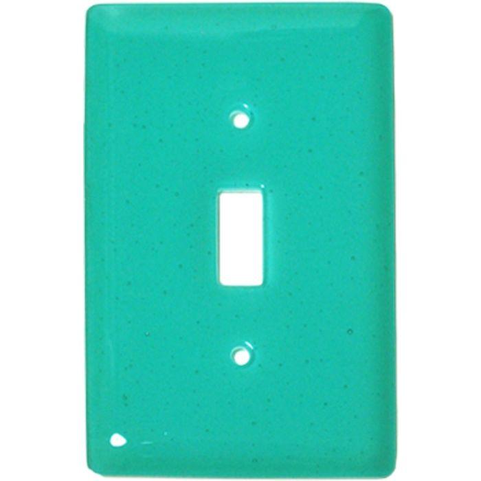 Light Aqua Blue Glass Single 1 Toggle Light Switch Plates