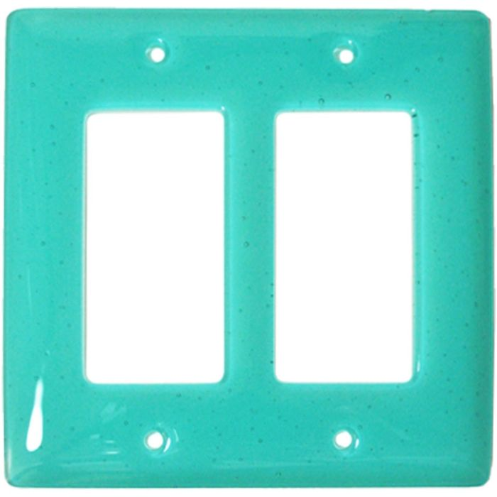 Light Aqua Blue Glass 2 Gang Double GFCI Rocker Decorator Wallplates