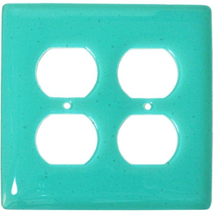 Light Aqua Blue Glass 2 Gang Duplex Outlet Wall Plate Cover